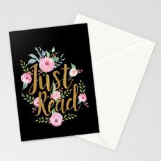 Just Read - Black Stationery Cards