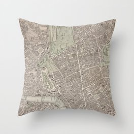 19th Century Topographical Vintage Antique Map London England Steampunk Throw Pillow