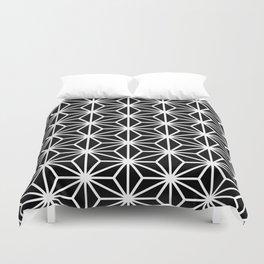 Geometric abstract modern black white stripes Duvet Cover
