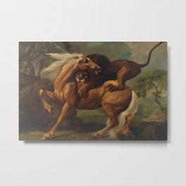 Classical Masterpiece, Circa 1762, Lion Attacking Horse by George Stubbs Metal Print