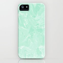 Mint Green Pastel Marble Minimalist iPhone Case