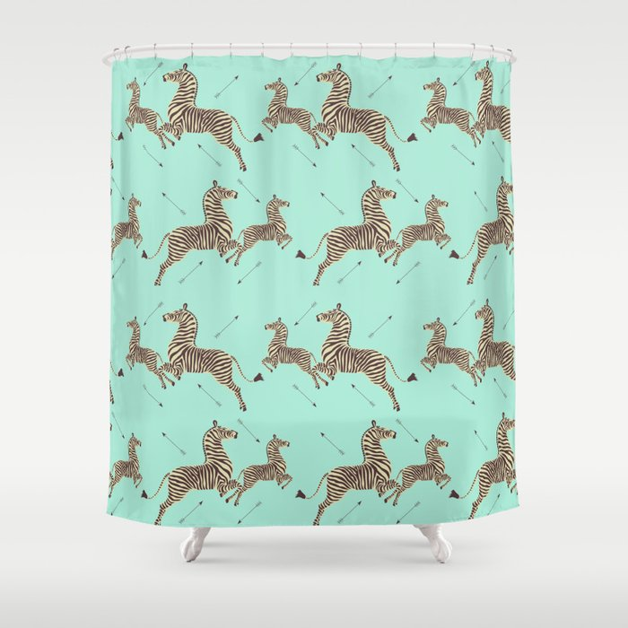 Royal Tenenbaums Zebra Wallpaper - Seafoam green Shower Curtain by sydneykoffler | Society6
