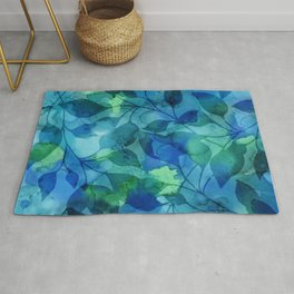 Alcohol Ink Leaves Rug