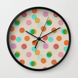 Smiley Face Stamp Print Wall Clock