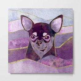 Chihuahua Portrait Mixed textures  Digital Art Metal Print