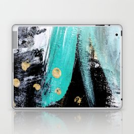Fairy Dreams: an abstract mixed media piece in black, white, teal, and gold Laptop & iPad Skin