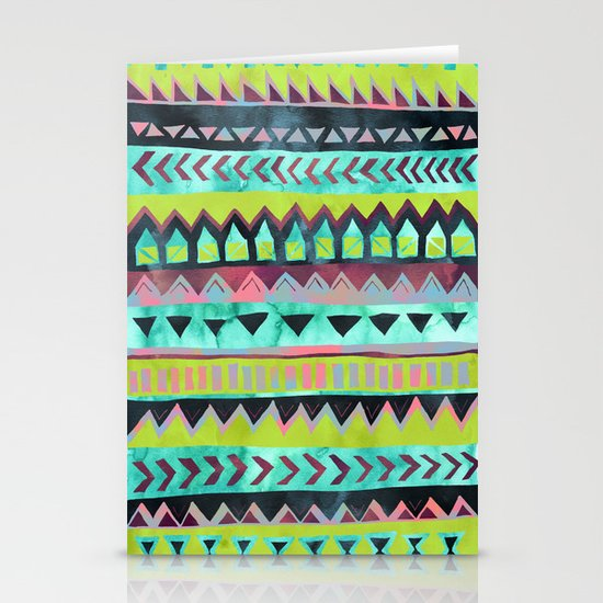 PATTERN {Tribal Stripe - Green} Stationery Cards