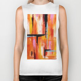Abstract Orange 2 Biker Tank