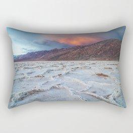 Death Valley's Badwater Basin Orange Sunset Rectangular Pillow