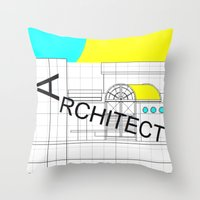architect Throw Pillows featuring ARCHITECT-2 by Art-xigo
