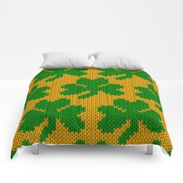 Shamrock pattern - orange, green Comforters