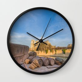 Docks of Notre Dame in Paris Wall Clock