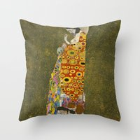 gustav klimt Throw Pillows featuring Hope II by Gustav Klimt  by Palazzo Art Gallery