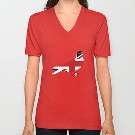 Union Jack Pigeon United Kingdom Flag Unisex V-Neck