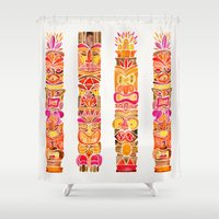 tiki Shower Curtains featuring Tiki Totems – Fiery Palette by Cat Coquillette