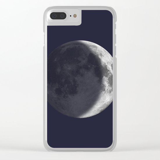 Waxing Crescent Moon on Navy Clear iPhone Case
