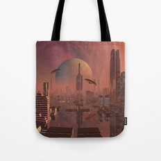 Futuristic City with Space Ships Tote Bag