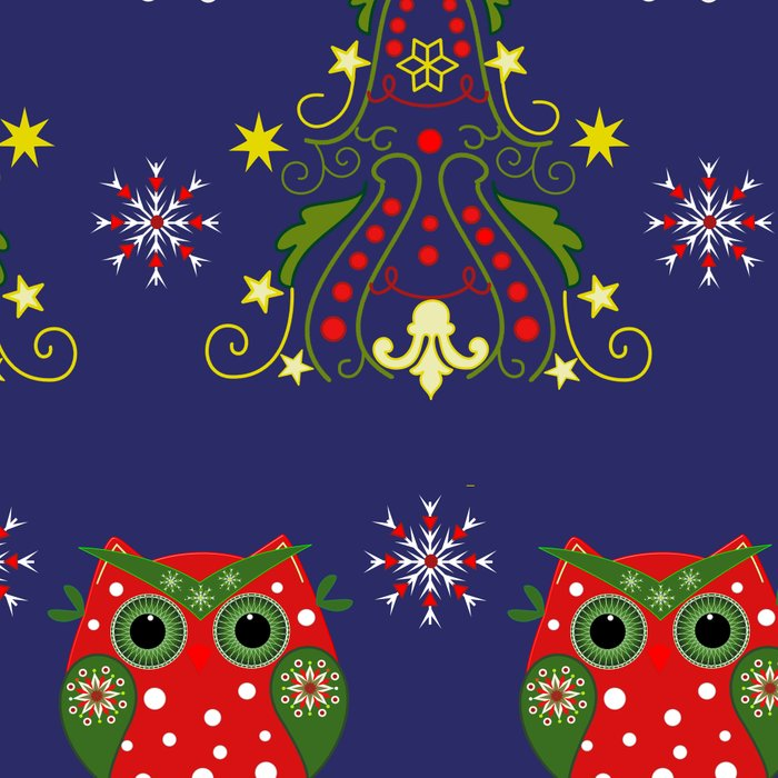Pattern design with Christmas owls, trees and snowflakes Leggings