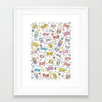 inside gaming Framed Art Prints featuring Gaming by Irene Florentina
