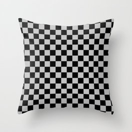 Black and Gray Checkerboard Throw Pillow
