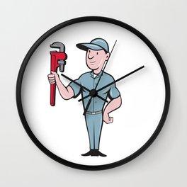 Handyman Monkey Wrench Standing Cartoon Wall Clock