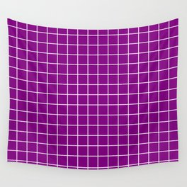 Patriarch - violet color - White Lines Grid Pattern Wall Tapestry