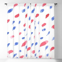 Red and Blue dashes watercolor design 4th of July Blackout Curtain