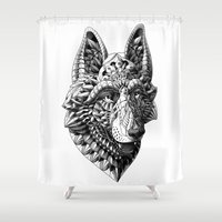 german Shower Curtains featuring German Shepherd by BIOWORKZ