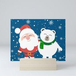 Holiday Christmas Santa Bear Snowflake Mini Art Print