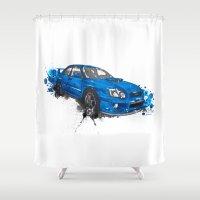 subaru Shower Curtains featuring Subaru Impreza by Claeys Jelle Automotive Artwork