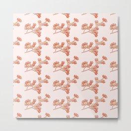Flower Nut Branch Pattern Metal Print