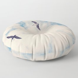 Flying Over Seas Floor Pillow