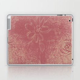 Light pink abstract design vintage velvet look with flowers Laptop & iPad Skin