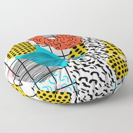Wig Out - memphis style shapes retro pop art pattern dots stripes squiggles 1980's 80s 80 1980 retro Floor Pillow