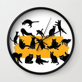 Black Cats on Sofa | Illustration | White Wall Clock