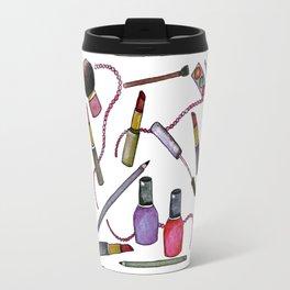 Watercolor Eyes Lips Nails - repeat pattern Travel Mug