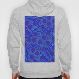 The Rivers around Us (blue) - Authentic Aboriginal Art Hoody