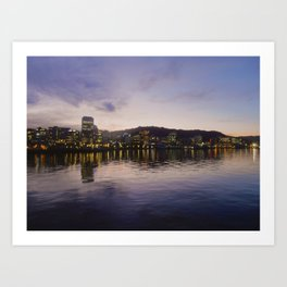 Sunset behind Wellington City Art Print