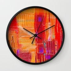 Spirits - Vibrant red minimalist abstract drawing Wall Clock