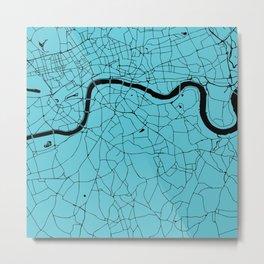 London Turquoise on Black Street Map Metal Print