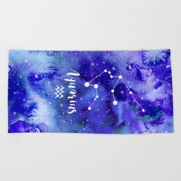 Aquarius Constellation Beach Towel