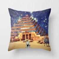 pyramid Throw Pillows featuring Pyramid by Cs025
