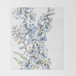 Blue Delphinium Flowers Throw Blanket
