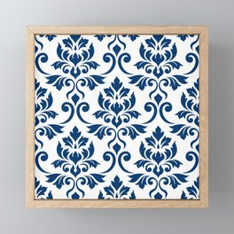 Feuille Damask Pattern Dark Blue on White Framed Mini Art Print