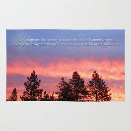 Serenity  Prayer Sunrise Blue Orange Rug