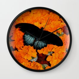 Butterflies love Marigolds Wall Clock