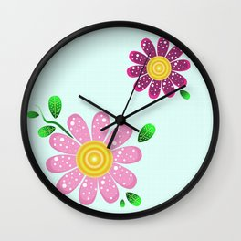 Pink flowers make me happy Wall Clock
