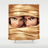 tangled Shower Curtains featuring Tangled by Janismarika