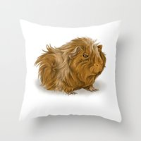 guinea pig Throw Pillows featuring grumpy old guinea pig  by Devon Busby Busbyart