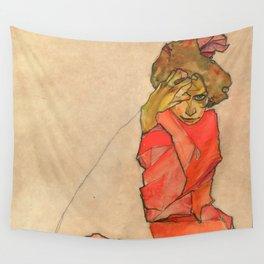 """Egon Schiele """"Kneeling Female in Orange-Red Dress"""" Wall Tapestry"""